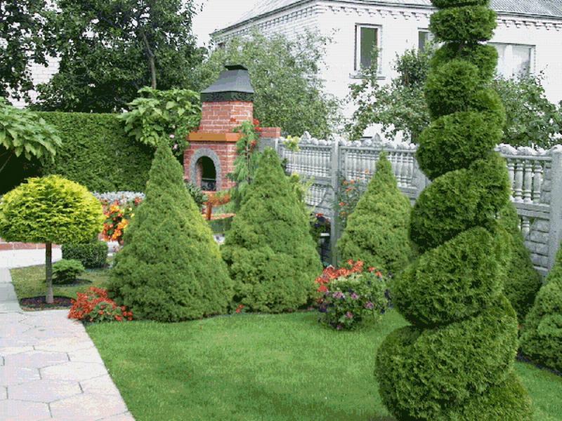 Растительные скульптуры в саду.
