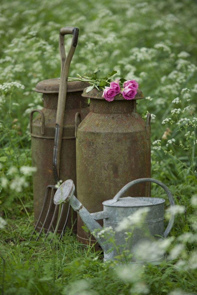 """На фото, для сада в стиле кантри или """"сельского стиля"""", прекрасно подойдут, к примеру, выветрившиеся старые вилы, 2 бидона и старая лейка из оцинкованной стали."""