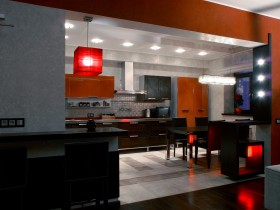 Kitchen in black and red shades