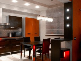 Modern kitchen interior, combined with dining room