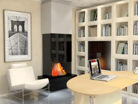 The fireplace in the style of constructivism