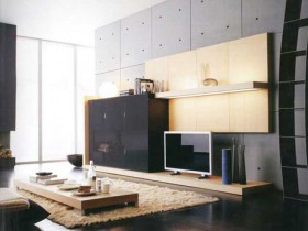 Living room interior in style of constructivism