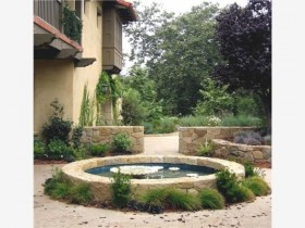 The design of the pond in the backyard