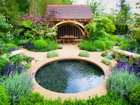 The stylish design of a garden pond