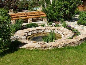 Artificial pond made of natural stone