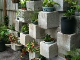 Vertical gardening garden cinder blocks
