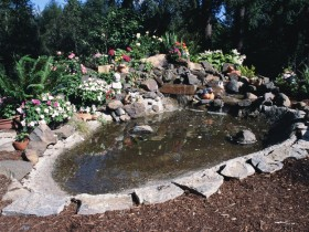 Alpine garden with a pond