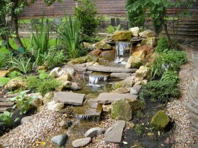 Alpine garden with a beautiful waterfall