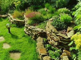 Alpine garden with retaining wall