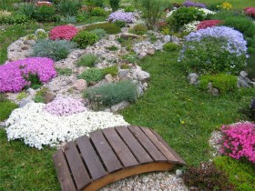 Alpine garden with garden bridge