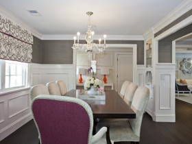 Grey white dining room in American style