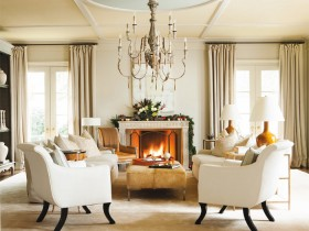 Living room with fireplace, American style