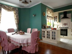 Kitchen in green and white color