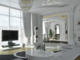 Modern living room with elements of classical style