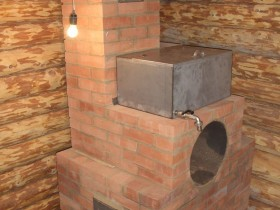 Water tank on a brick furnace