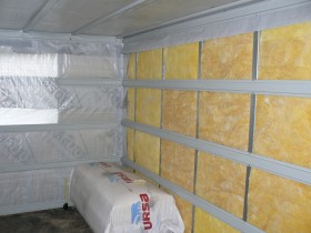 A warming bath with mineral wool