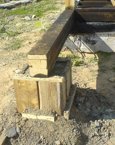 Фундамент для бани из шпал