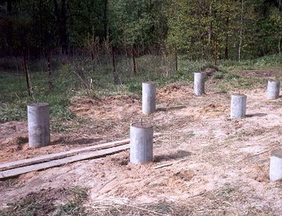 Пример столбчатого фундамента для бани