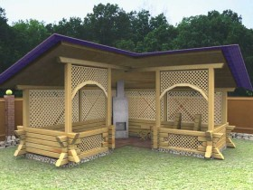 Wooden gazebo with barbecue in the corner