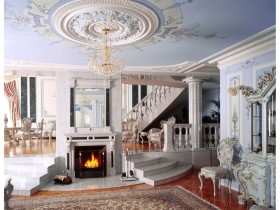 Living room with fireplace in Baroque style