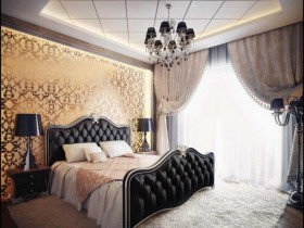 Baroque bed in the bedroom