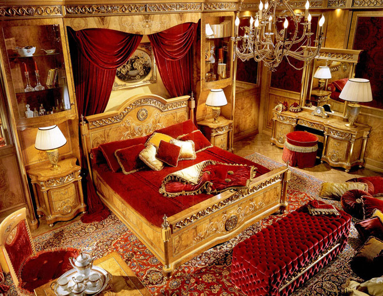 for Red and gold bedroom designs