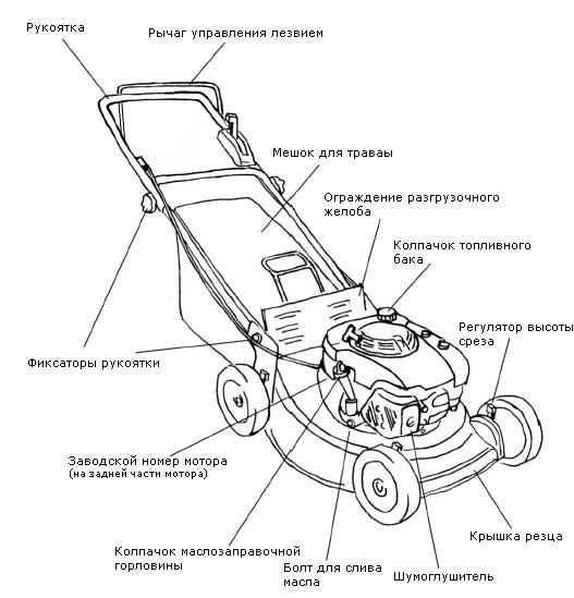 Конструкция бензиновой газонокосилки