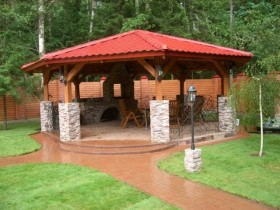 The stone gazebo at the cottage