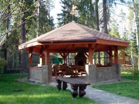A gazebo made of stone