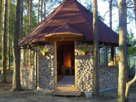 Garden gazebo made of natural stone