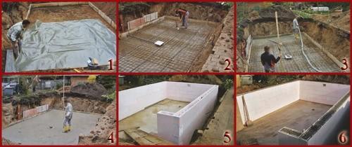 Стены бассейна из пенополистирольных блоков
