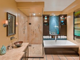 Large bathroom in several colors