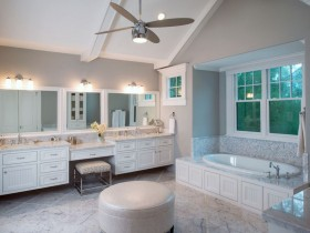 Large bathroom with furniture
