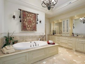 Large bathroom in bright colors
