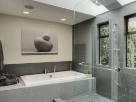 Large bathroom in the style of hi-tech