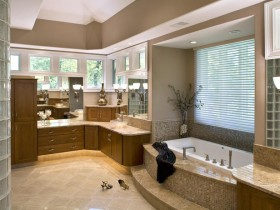Large bathroom with storage furniture