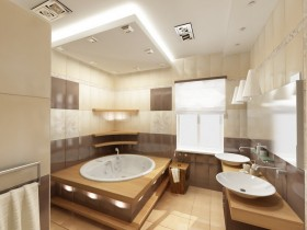 Modern interior large bathroom