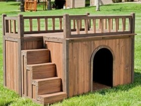 Kennel for the dog with the second floor