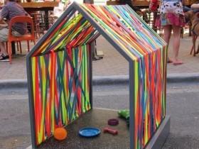 Designer dog house made of fabric