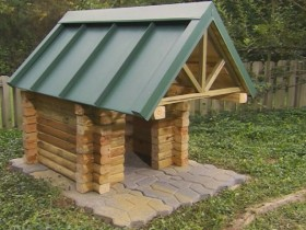 Booth for dogs with sunshade