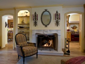 Fireplace design in country style