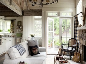 The idea of living room design in rustic style