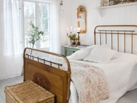 Bright bedroom in country style