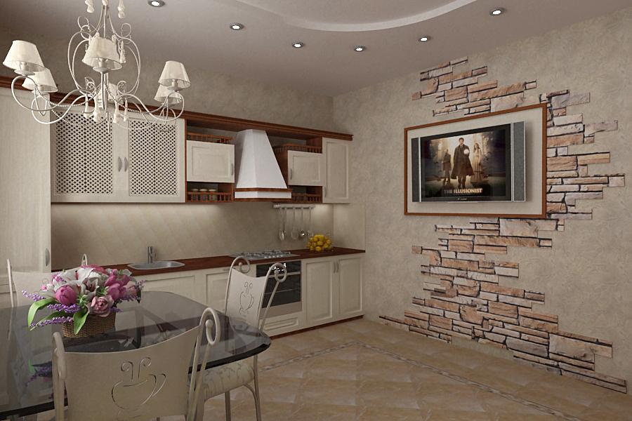 Интерьер кухни с камнем фото