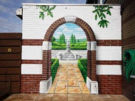 Wall painting for decoration of small garden