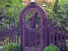 Purple garden gate from wood