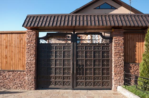 Ворота частного дома своими руками фото