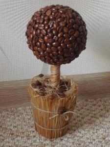 Готовое дерево счастья из кофейных зерен