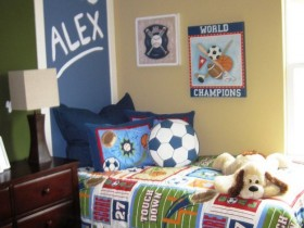 The interior of the nursery for a little boy