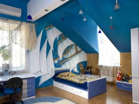 Children's room for boy in a marine style